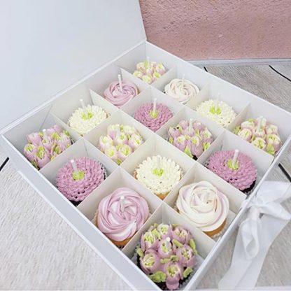 kvetinove cupcakes svetle ruzove
