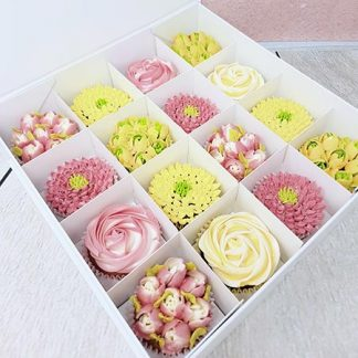 kvetinove cupcakes zlute ruzove